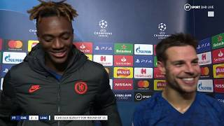 """The Champions League is where Chelsea belongs"" Tammy Abraham and César Azpilicueta speak post-match"