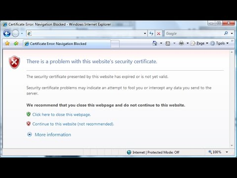 How To Remove Security Certificate Error On Internet Explore And Google Chrome