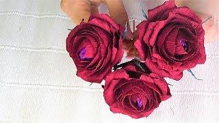 Цветы из гофрированной бумаги / Розы мастер-класс