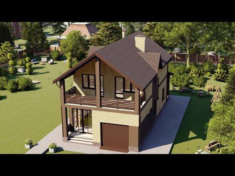 Проект дома для узкого участка с большим балконом 155 м2
