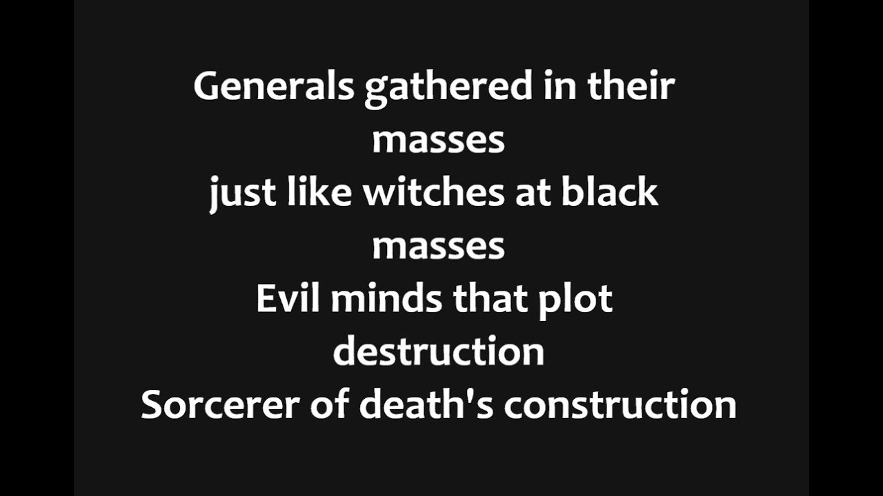 Lyric black lyrics : Black Sabbath - War Pigs Lyrics - YouTube