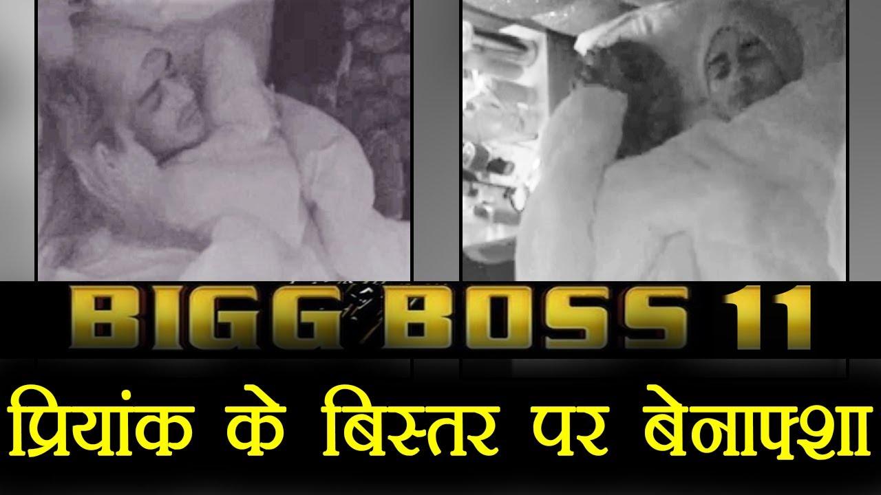 bigg boss 11: priyank sharma - benafsha sleep on same bed