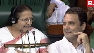 Speaker Sumitra Mahajan Criticises Rahul Gandhi's Behaviour In Lok Sabha | #ModiTrustVote