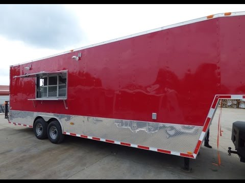 Concession Trailer 8.5 x 30 Red Gooseneck Event Catering Food Custom Kitchen