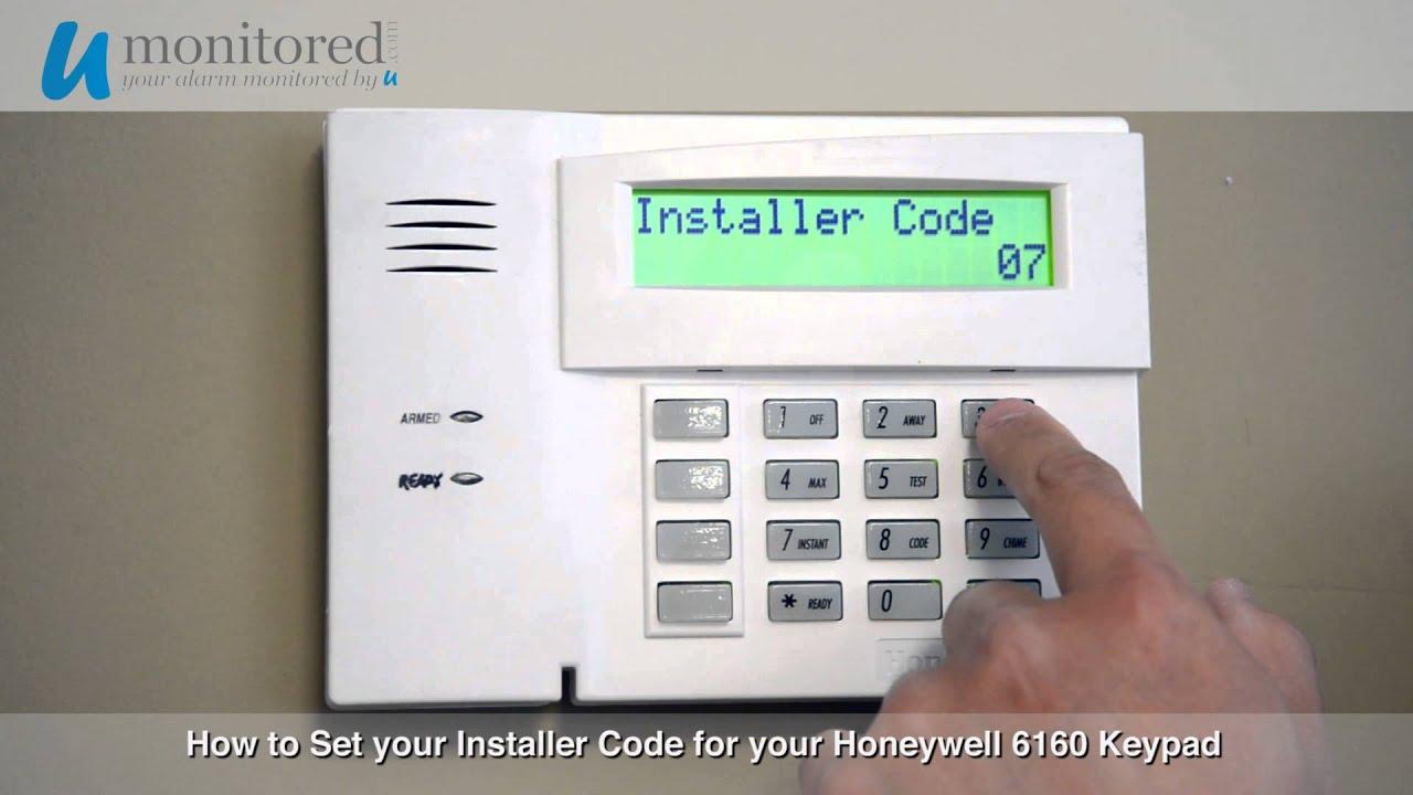 how to set the installer code on your honeywell 6160 alarm keypad rh youtube com