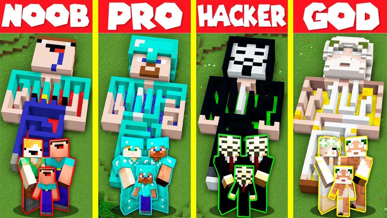 Minecraft Battle: INSIDE STATUE MAZE HOUSE BUILD CHALLENGE - NOOB vs PRO vs HACKER vs GOD Animation