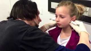 morgan 6 year old girl getting her ears pierced first time