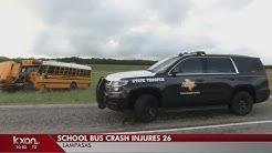 Dozens injured in school bus rollover crash near Lampasas airport