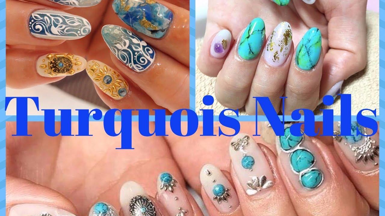 Turquoise Nails Turquoise Stone Nail Art Designs Youtube