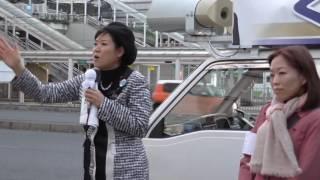 豊橋市長選立候補者 くしだ真吾さんの街頭演説の模様です。応援弁士は日...