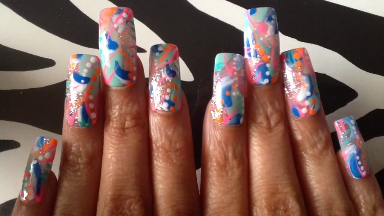 Colorful Abstract Nail Art 036 Press On Nails Long Square - Colorful Abstract Nail Art 036 Press On Nails Long Square - YouTube