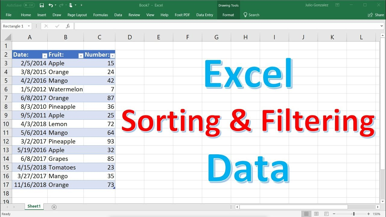 Download Excel Sorting and Filtering Data