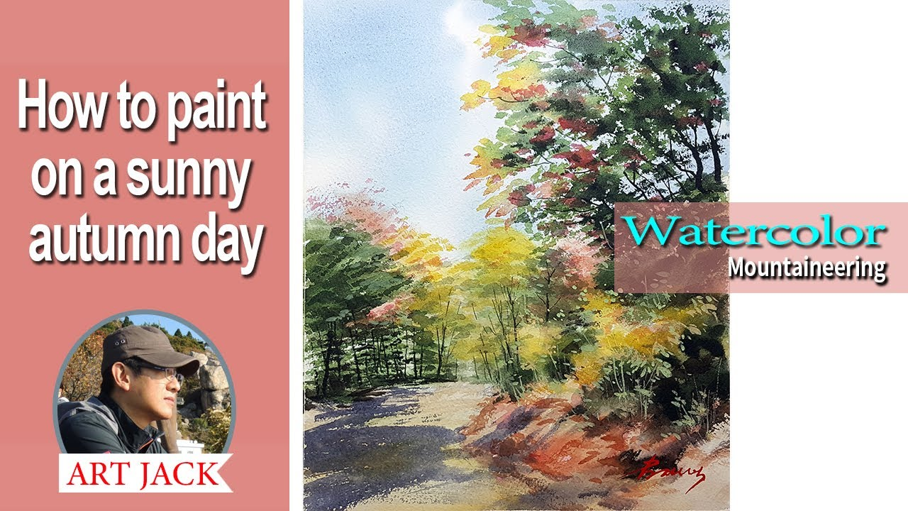 Watercolor | How to paint on a sunny autumn day | Mountaineering | Easy tutorial [ART JACK]