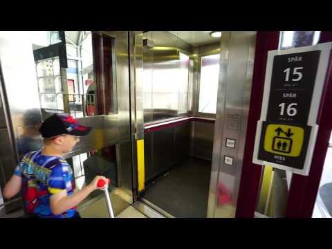 Sweden, Stockholm Central train station, track 15-16, DEVE elevator - going down to platform level