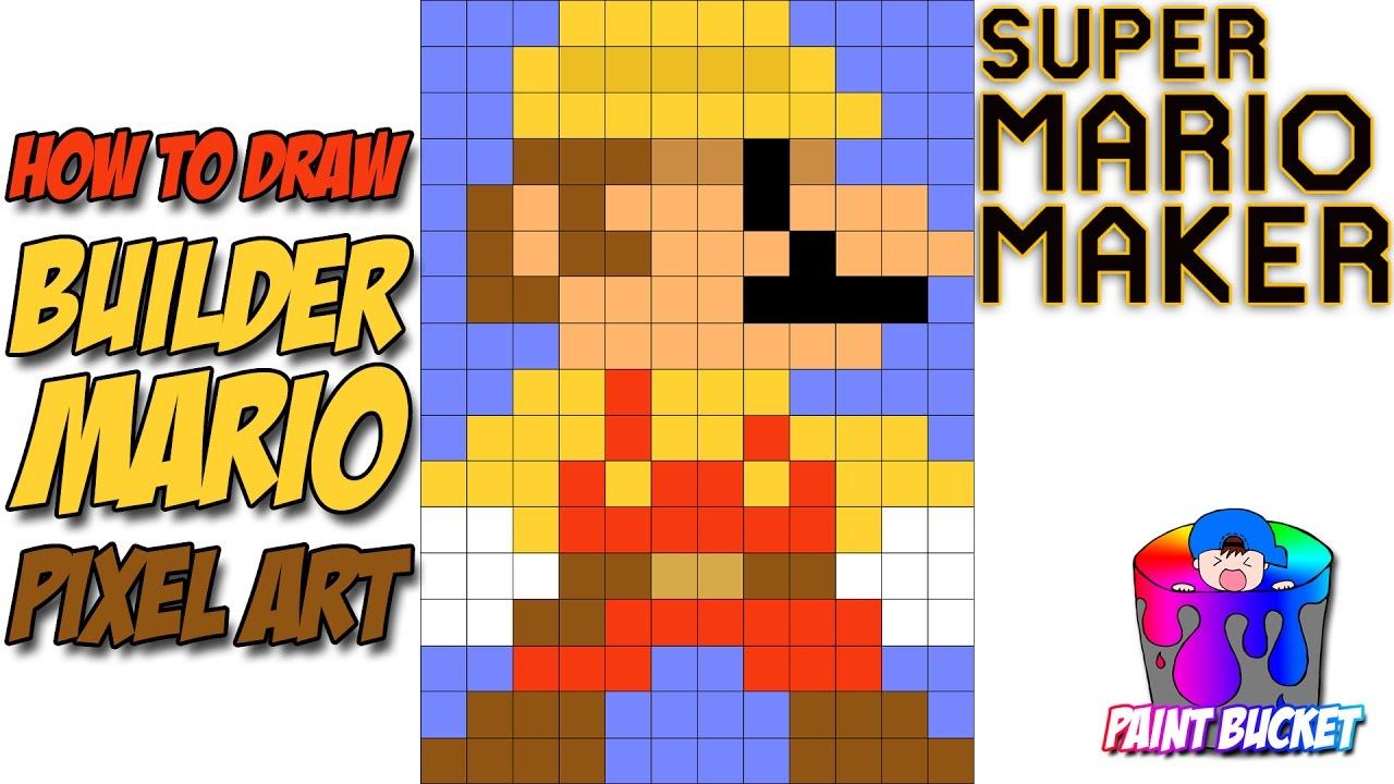 How To Draw Builder Mario Super Mario Maker 8 Bit Pixel