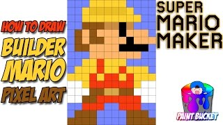 How to Draw Builder Mario - Super Mario Maker 8-Bit Pixel Art Drawing Tutorial