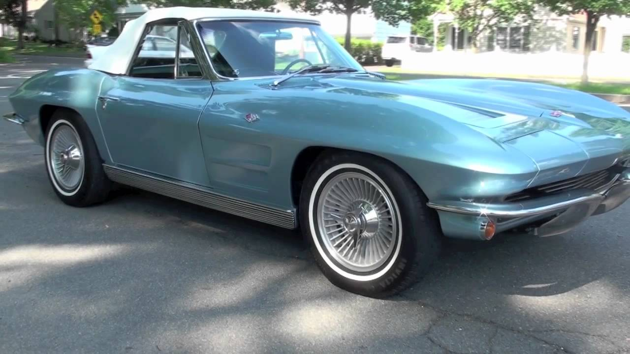 1963 Corvette Stingray >> 1963 Corvette Stingray Convertible Silver Blue - YouTube