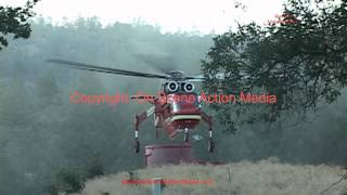 Footage from CA 3rd largest fire: The Rim Fire:  DC-10 Flyover & S-64 Fire Sky-Crane 8 26 2013
