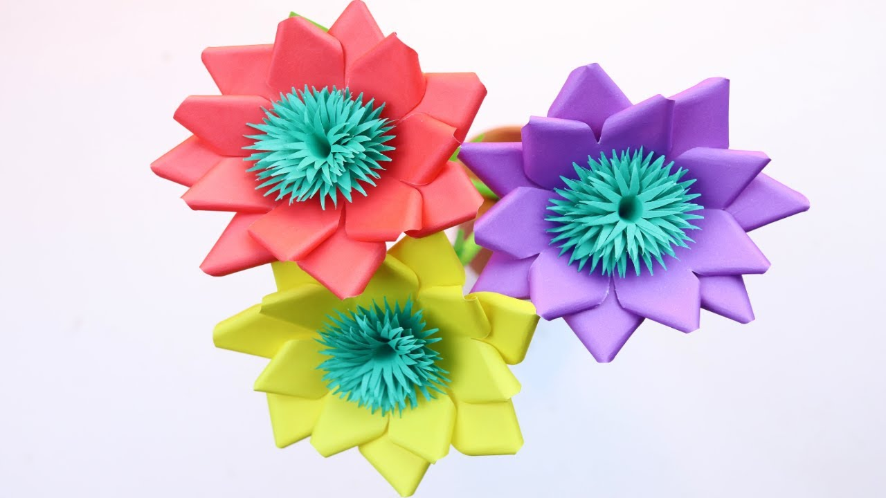 How to Make a Beautiful And Easy Flower With Paper - Home Decorating Ideas - DIY Home Decor
