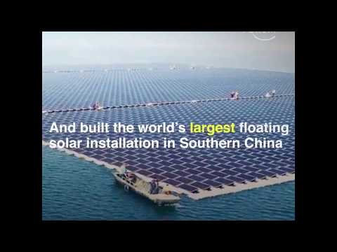 China produces  2/3 of the world solar panels and install most of them in the world.