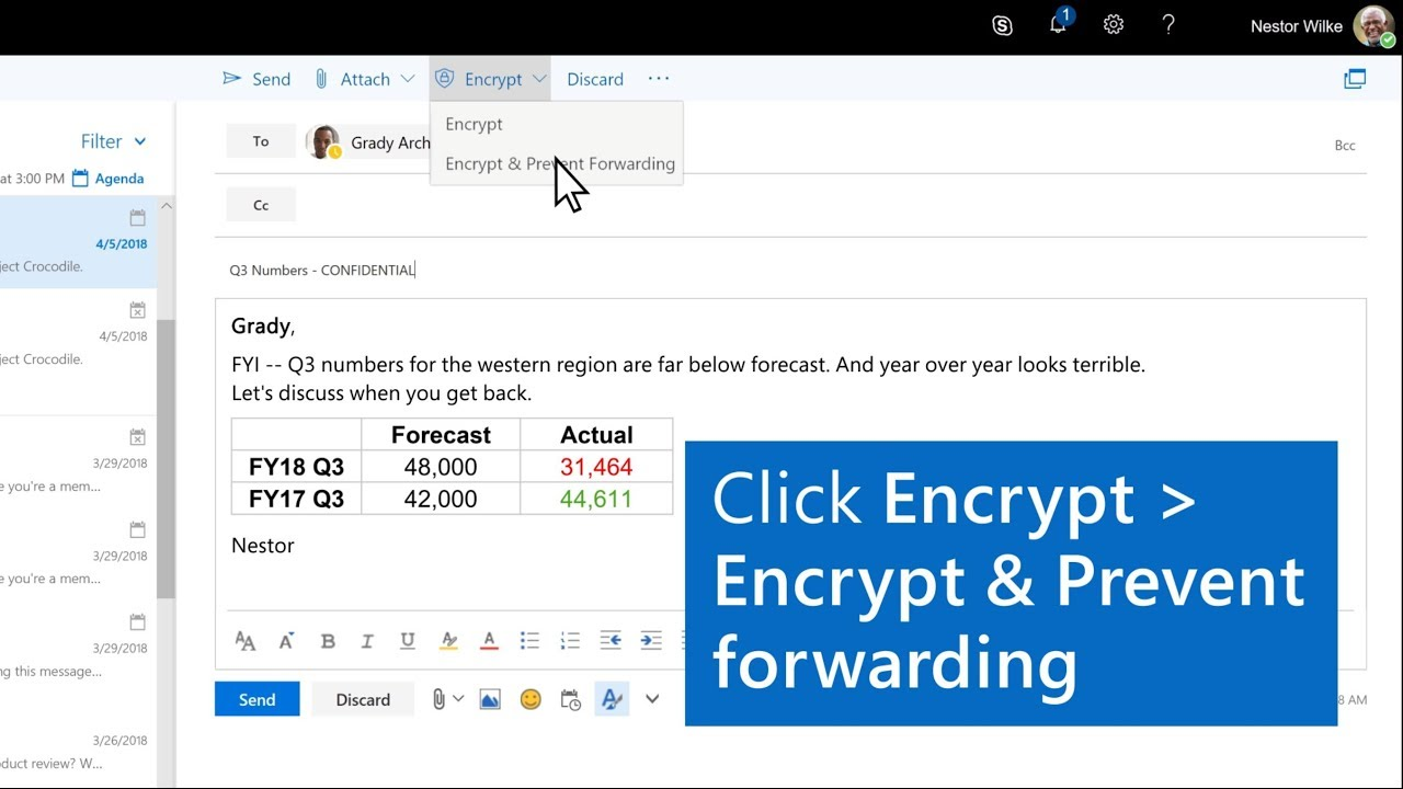 Encrypt an email and prevent forwarding in Outlook
