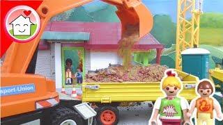 Bagger auf der Playmobil Haus - Baustelle - Kran Lastwagen Bagger Kinderfilm
