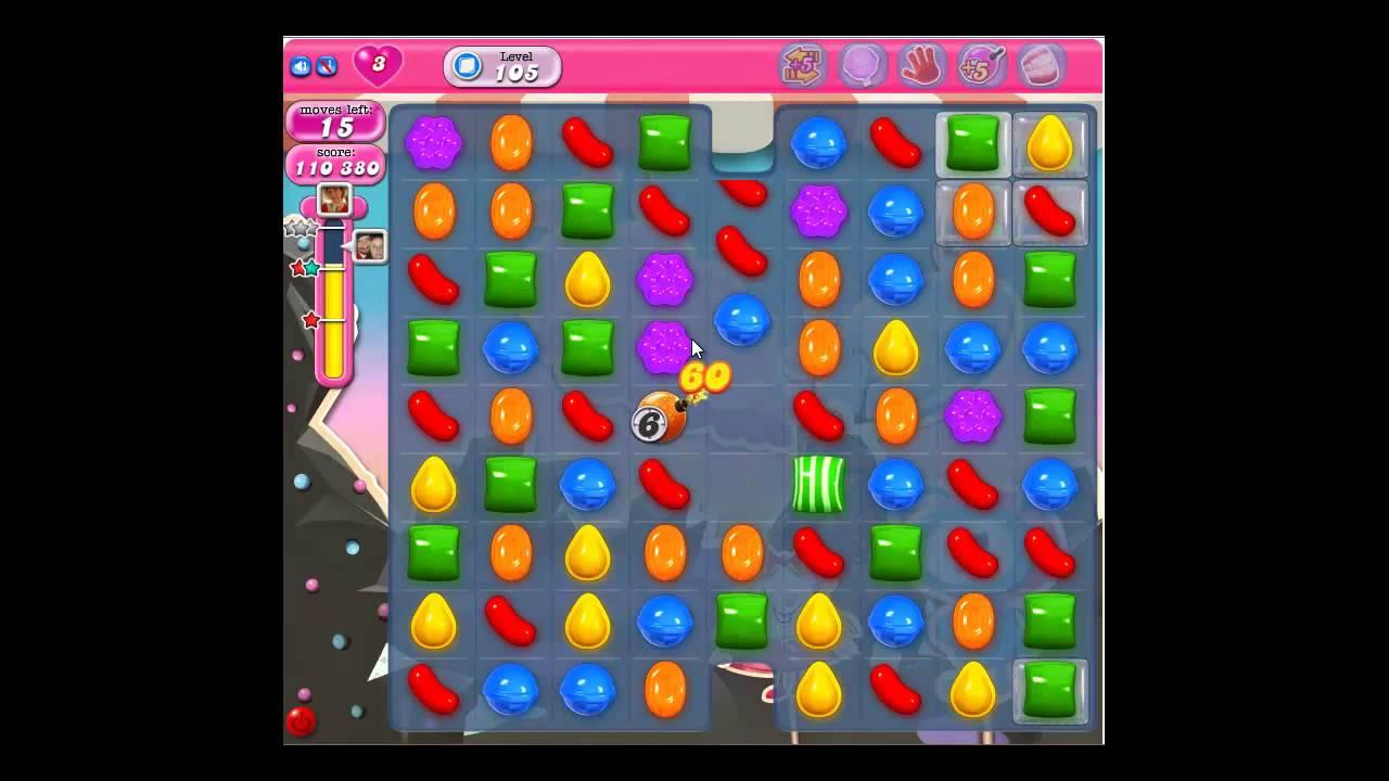 Candy crush saga gameplay amp solution for level 105 3 stars no