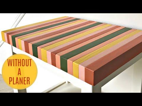 DIY Wood Table Top From Painted Pine Blocks