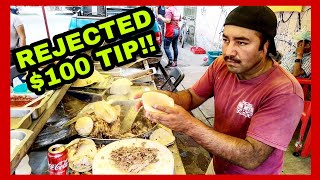 Taquero REJECTED $100 Dollar Tip In MEXICO – The ULTIMATE Mexican Street Food - BEST Street Tacos!! thumbnail