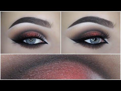 Brown coral cut crease makeup tutorial thumbnail