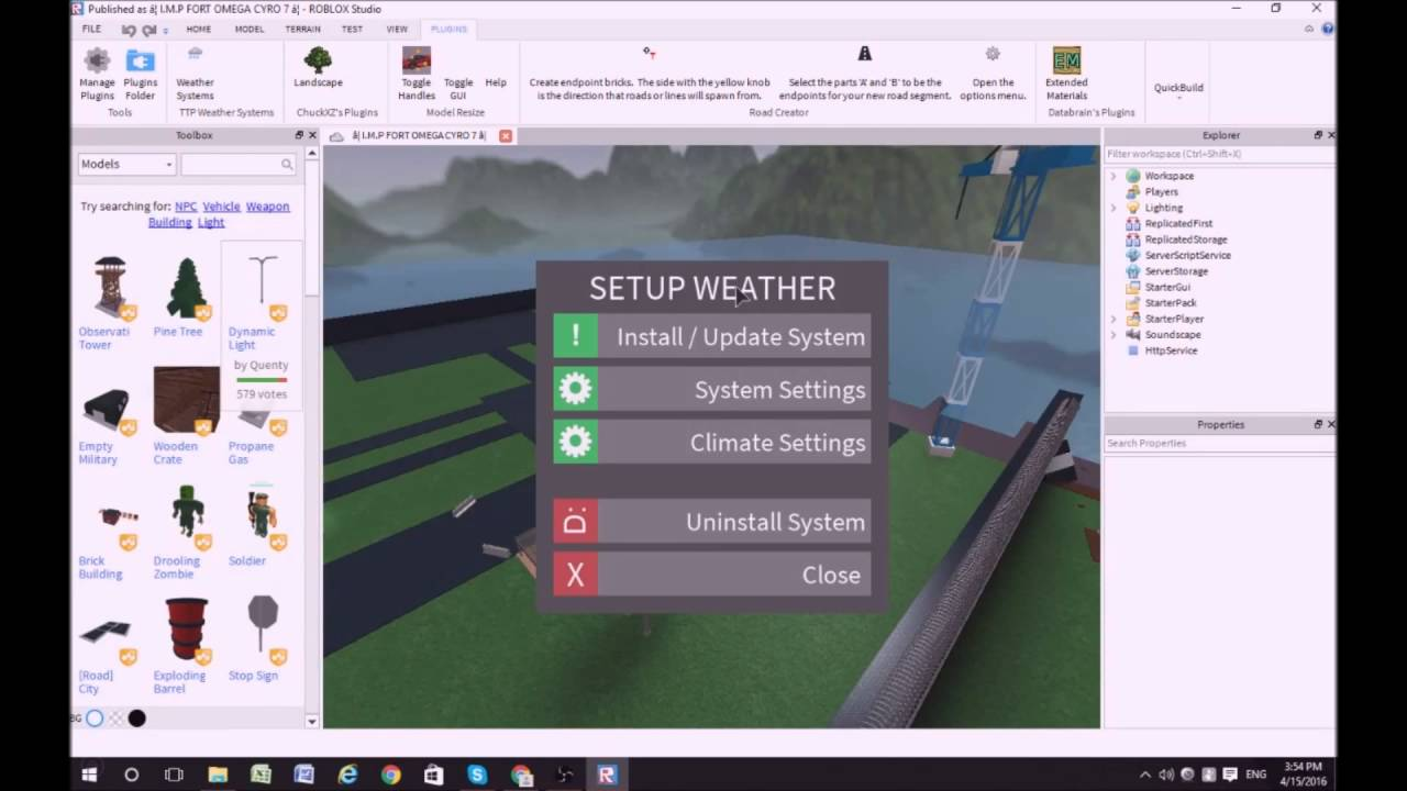 Roblox Studio Plugins For Building Roblox Tutorials How To Install The Weather System Plugin Episode 2 Youtube