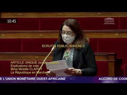 Oratrice en hémicycle sur l'accord de coopération avec les pays de l'union monétaire ouest-africaine