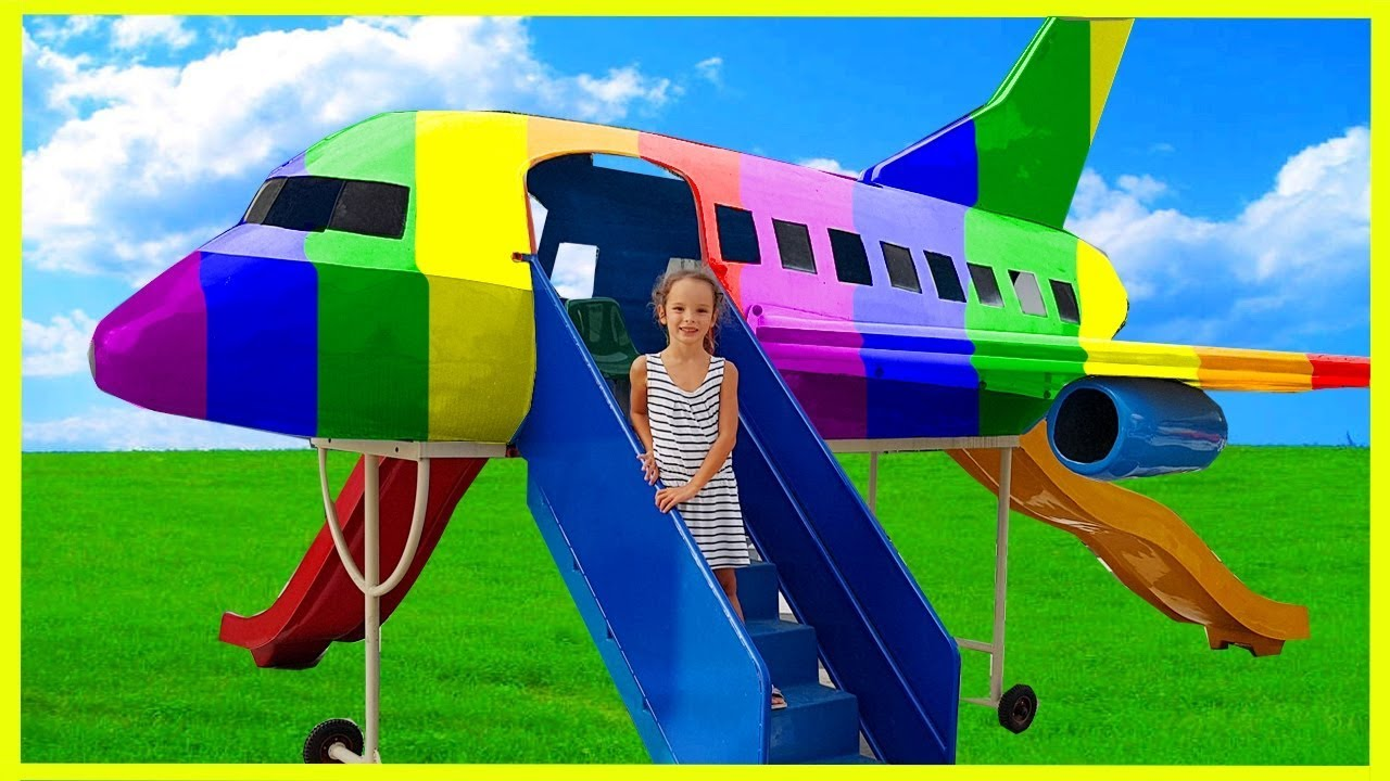 Funny Kids Learn Colors in Indoor Playground, Kids Airplane