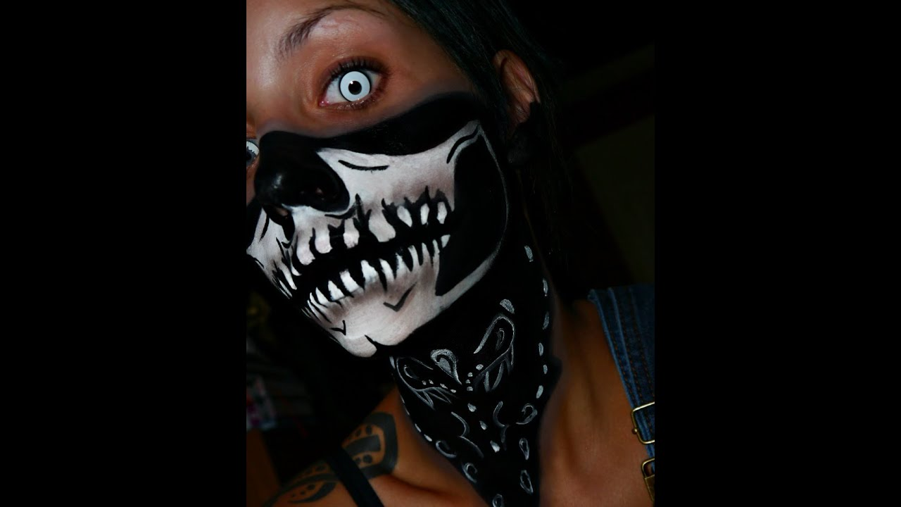 halloween 2014 series skull bandana face paint youtube - Skeleton Face Paint For Halloween