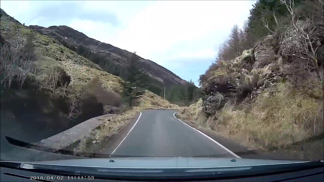 Driving from Loch Goil to Inveraray in Scotland