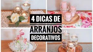 4 centros de mesa com um kit de vasos – arranjos decorativos
