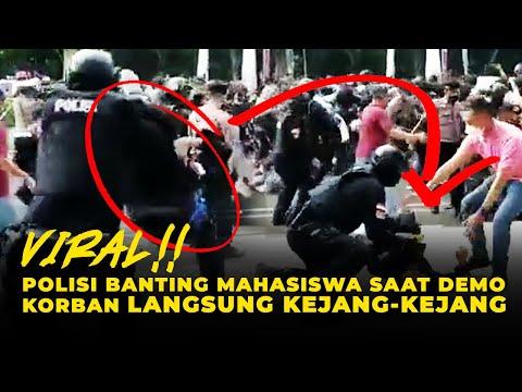 VIRAL!! Video POLISI BANTING MAHASISWA Saat Demo, Korban Langsung Kejang-Kejang