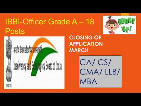 IBBI-Officer Grade A – 18 Posts, government job notification for CA, LLB, MBA, CS