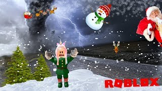 Blown Away By A Snow Storm! Surviving Natural Disasters As A Christmas Elf on Roblox