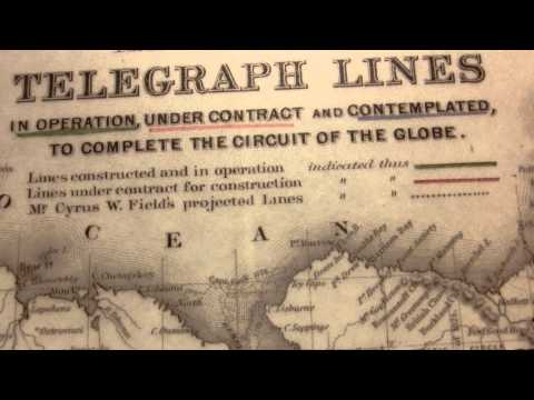 World first Long distance Telegraph lines. Installed and planed - 1855