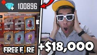 ¡COMPRO 100,000 DIAMANTES y COMPRO TODA LA NUEVA TIENDA de FREE FIRE! *épico*