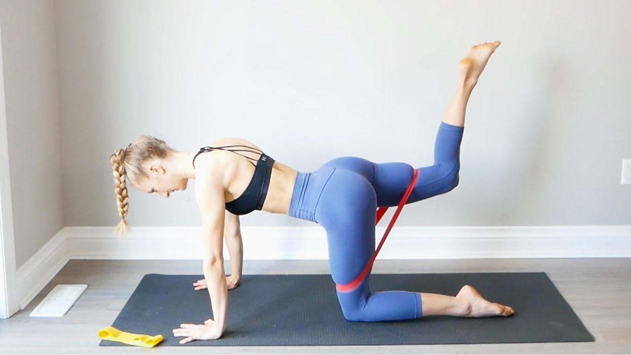 Resistance Band Booty At Home Workout Glute Activation Youtube