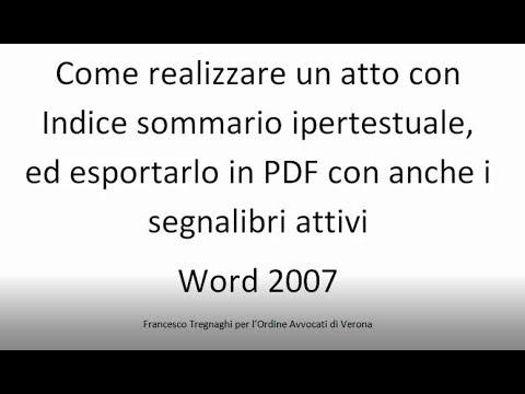 MS Word Come creare un atto per il PCT con un sommario interattivo (link