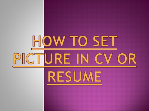 how to set photo in cv