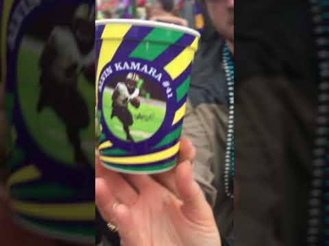 Alvin Kamara and Marshon Lattimore cups from the 2018 Endymion Mardi Gras parade