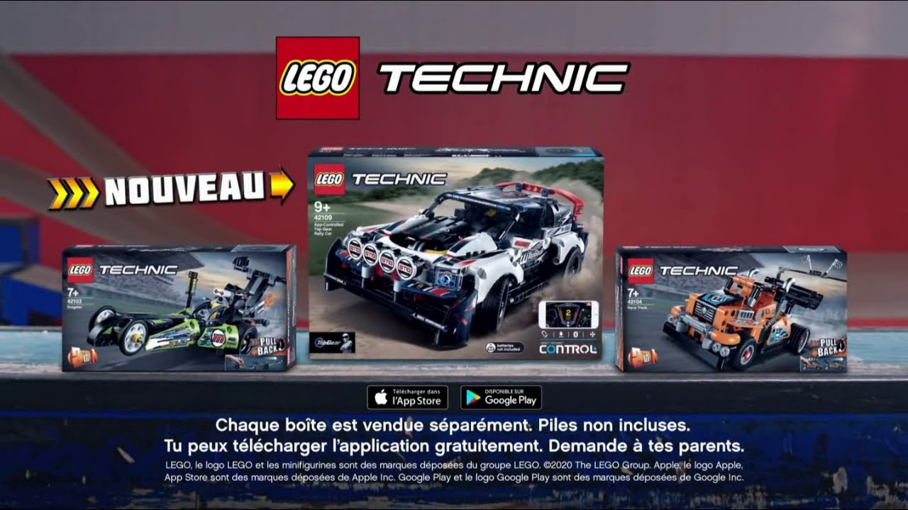 """Lego Technics & appli """"prêt pour relever un nouveau défi avec les nouvelles voitures"""""""