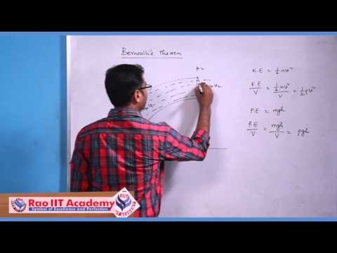 Fluid Dynamics Part 1 - IIT JEE Main and Advanced Physics Video Lecture [RAO IIT ACADEMY]