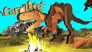 Attack of the Cardboard DINOSAURS!  Card Life Gameplay