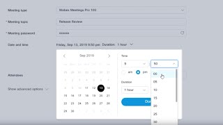 Schedule a Webex Meeting in modern view