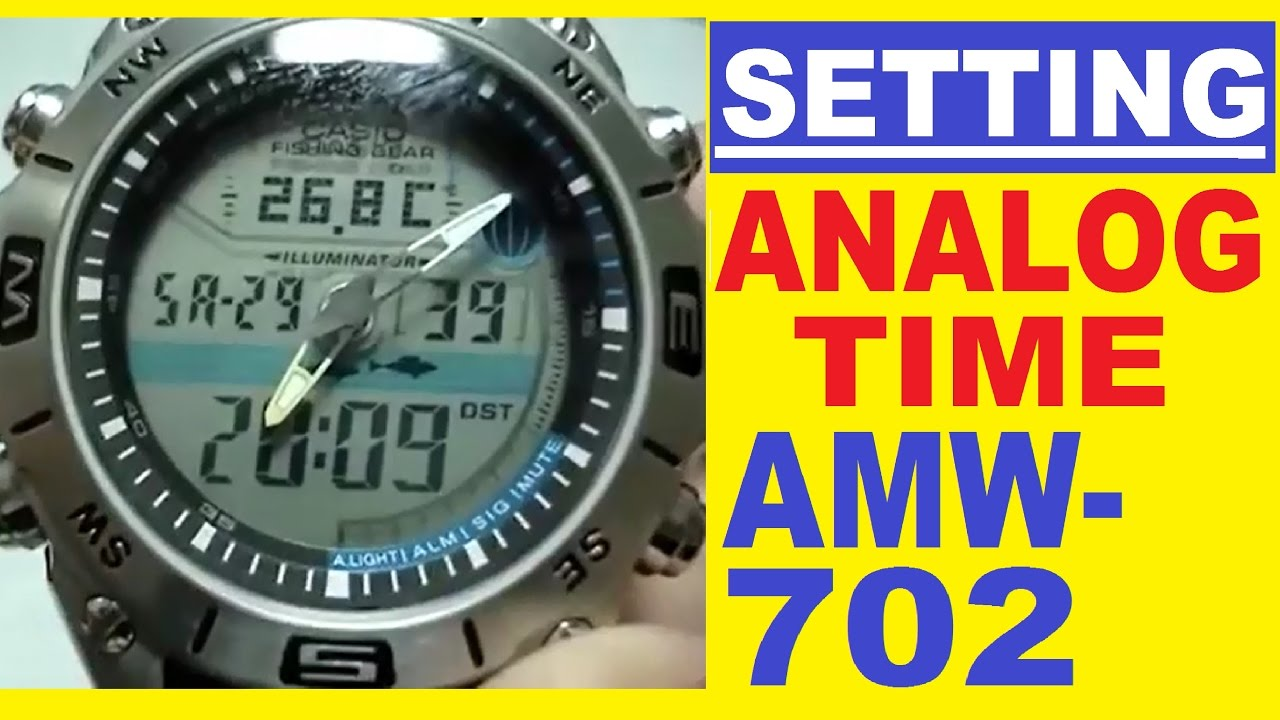 8812f80d7d1 Setting Casio AMW-702 analog time - YouTube